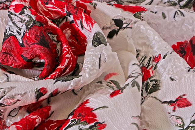 Red Flowers Woven Fabric - Jacquard Coupe' 003