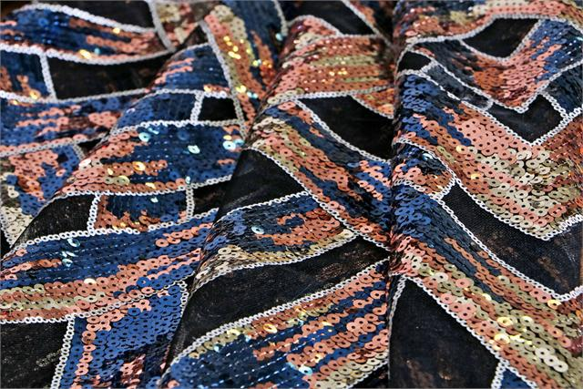 Black Polyester Laces-Embroidery fabric for Party dress.
