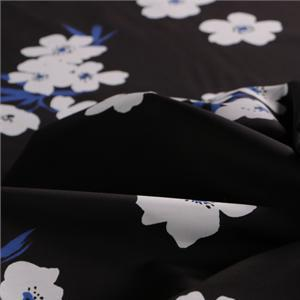 Black, Blue Cotton Poplin Flowers Print fabric for Dress, Pants, Shirt, Skirt.