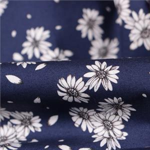 Tissu Imprimé Fleurs Popeline Bleu en Coton pour Chemise, Jupe, Pantalon, Robe.