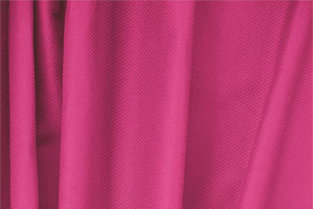Tessuto Piquet Stretch Fucsia Fuxia in Cotone, Stretch per abbigliamento