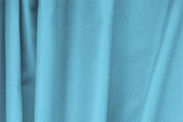Buy online our clothing and fashion fabric 'Turchese' Blue Cotton, Stretch Piquet Stretch, Made in Italy. - new tess