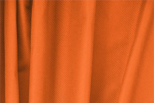 Tissu Piquet Stretch Orange Mandarino en Coton, Stretch pour vêtements