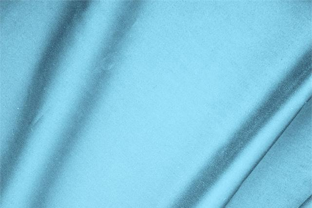 Buy online our clothing and fashion fabric 'Turchese' Blue  Cotton sateen stretch, Made in Italy. - new tess