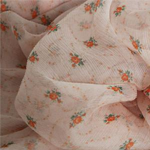 Orange, Pink Silk Crepon Flowers Print fabric for Dress, Shirt.