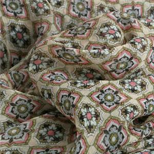 Beige, Multicolor Silk Crepon Tie Print fabric for Dress, Shirt.