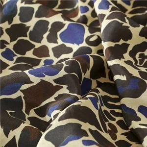 Tissu Imprimé Animaux Crêpe de Chine Beige, Bleu en Soie pour Chemise, Jupe, Pantalon, Robe.