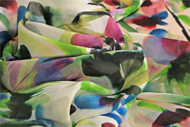 Tessuto Georgette Se Fiori K00804 Blu, Fucsia, Multicolore, Verde in Seta