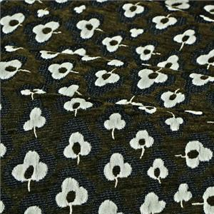 Beige, Green Mixed Flowers Jacquard fabric for Dress, Jacket, Skirt.