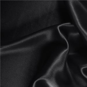 Tissu Uni Crêpe Satin Noir en Soie pour Chemise, Jupe, Lingerie, Robe, Robe de cérémonie, Robe de soirée.