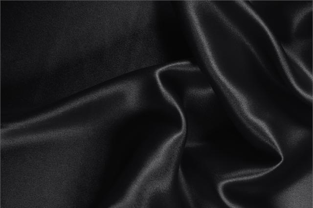 Buy online our clothing and fashion fabric Black Silk Crêpe Satin, Made in Italy. - new tess