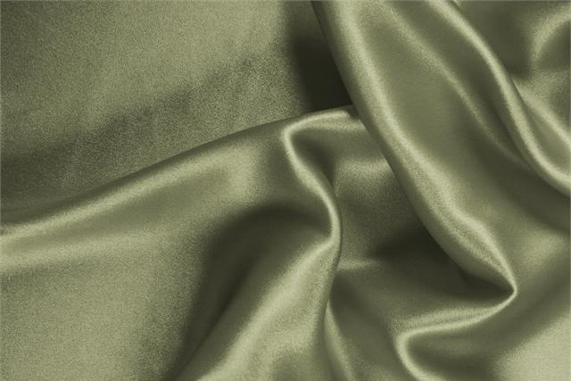 Buy online our clothing and fashion fabric 'Oliva' Green Silk Crêpe Satin, Made in Italy. - new tess