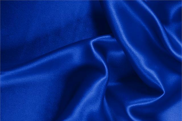 Elettrico Blue Silk Crêpe Satin fabric for dressmaking