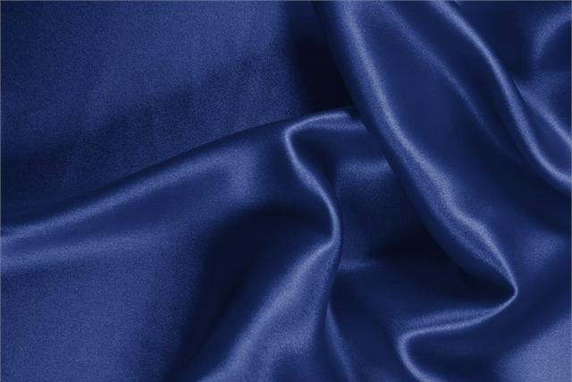 Buy online our clothing and fashion fabric 'Zaffiro' Blue Silk Crêpe Satin, Made in Italy. - new tess