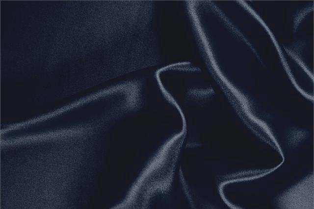 Buy online our clothing and fashion fabric 'Notte' Blue Silk Crêpe Satin, Made in Italy. - new tess