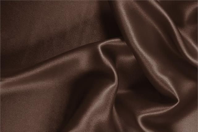Buy online our clothing and fashion fabric 'Testa Di Moro' Brown Silk Crêpe Satin, Made in Italy. - new tess
