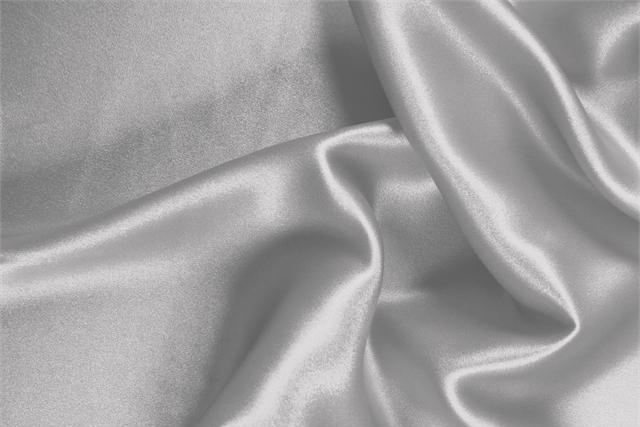 Buy online our clothing and fashion fabric 'Perla' Silver  Silk Satin Stretch, Made in Italy. - new tess