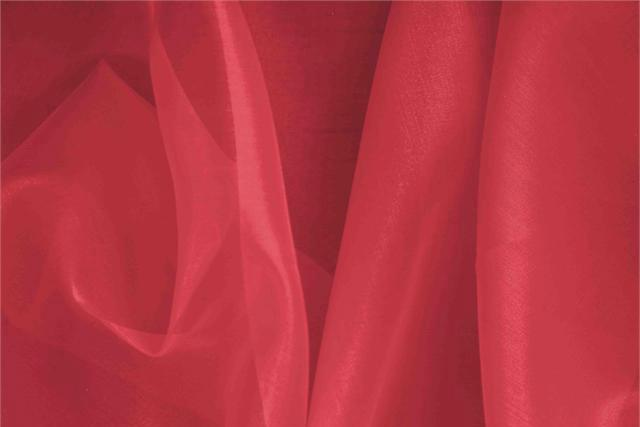 Geranio Red Silk Organza fabric for dressmaking
