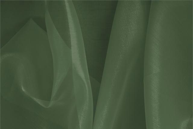 Buy online our clothing and fashion fabric 'Quercia' Green Silk Organza, Made in Italy. - new tess
