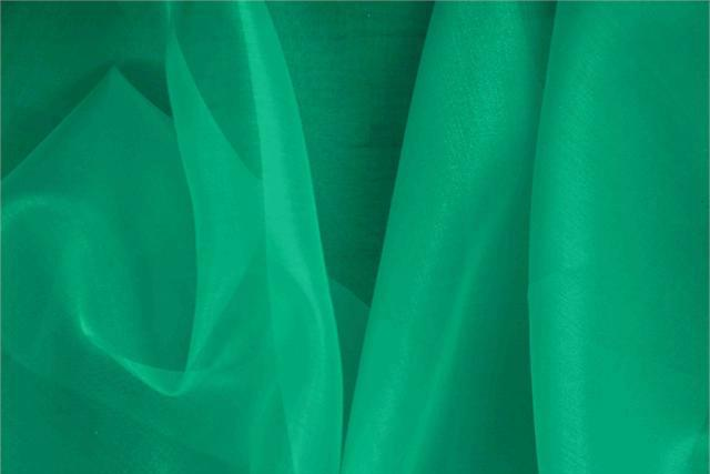 Buy online our clothing and fashion fabric 'Smeraldo' Green Silk Organza, Made in Italy. - new tess