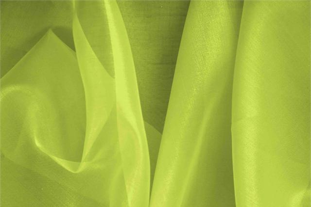 Buy online our clothing and fashion fabric 'Ramarro' Green Silk Organza, Made in Italy. - new tess