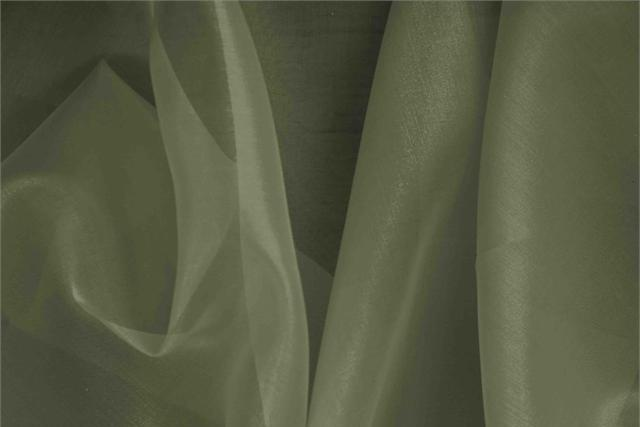 Buy online our clothing and fashion fabric 'Palude' Green Silk Organza, Made in Italy. - new tess