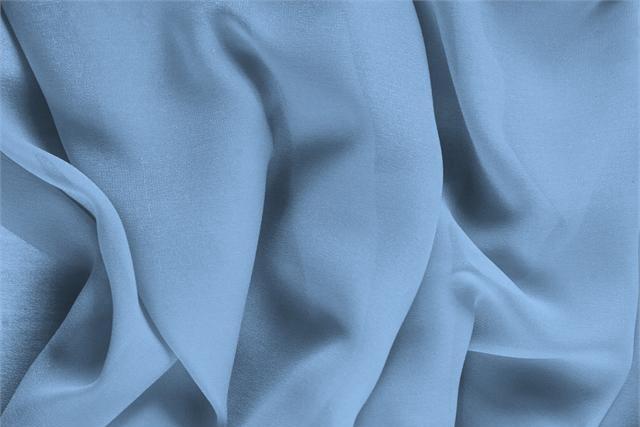 Achetez notre tissu pour habillement, haute couture et mode Georgette Bleu 'Fiordalisio' en Soie, Made in Italy. - new tess