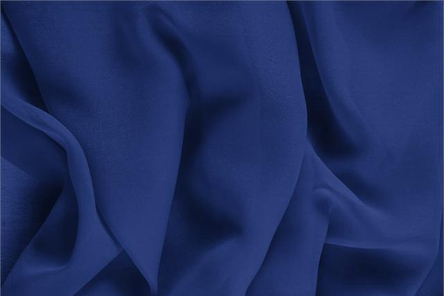 Buy online our clothing and fashion fabric 'Zaffiro' Blue Silk Georgette, Made in Italy. - new tess