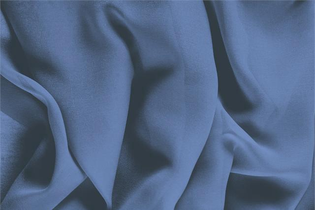 Buy online our clothing and fashion fabric 'Temporale' Blue Silk Georgette, Made in Italy. - new tess