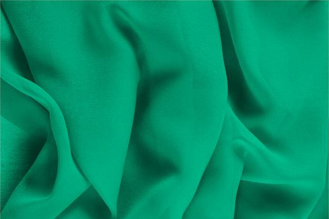 Buy online our clothing and fashion fabric 'Bandiera' Green Silk Georgette, Made in Italy. - new tess