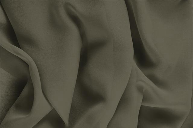 Tessuto Georgette Verde Militare in Seta per abbigliamento