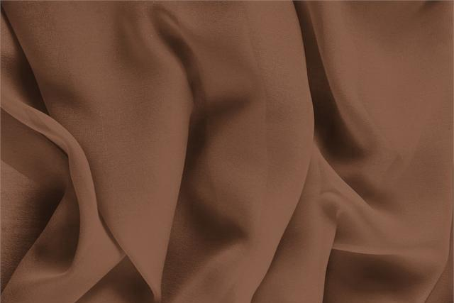 Buy online our clothing and fashion fabric 'Noce' Brown Silk Georgette, Made in Italy. - new tess
