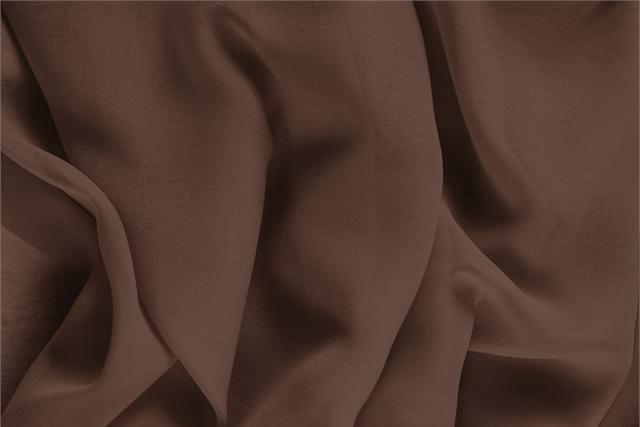 Buy online our clothing and fashion fabric 'Testa Di Moro' Brown Silk Georgette, Made in Italy. - new tess