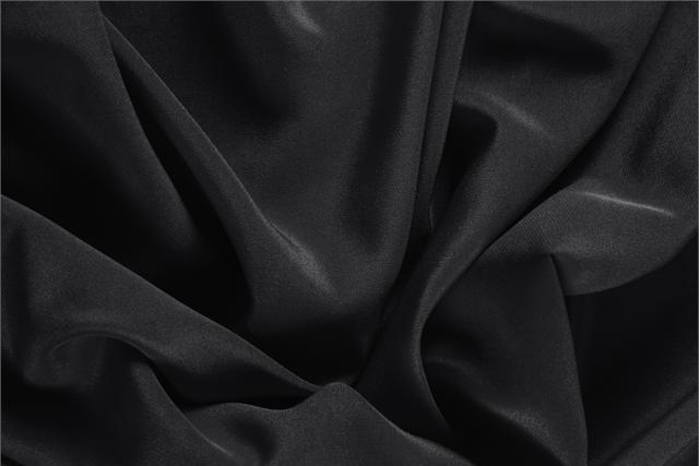 Nero Black Silk Crêpe de Chine fabric for dressmaking