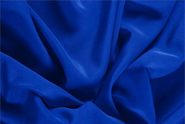 Elettrico Blue Silk Crêpe de Chine fabric for dressmaking