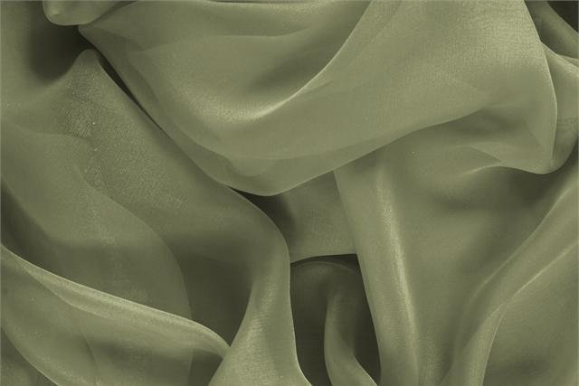 Buy online our clothing and fashion fabric 'Oliva' Green Silk Chiffon, Made in Italy. - new tess