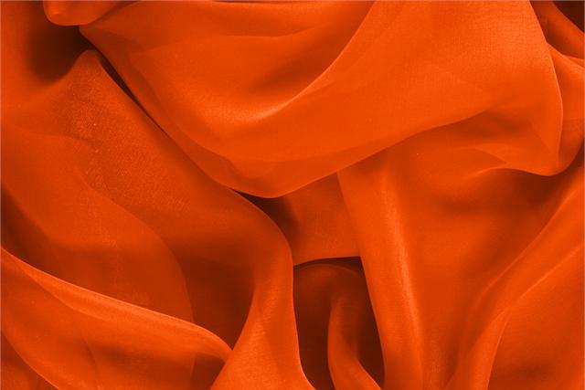 Buy online our clothing and fashion fabric 'Corallo' Orange Silk Chiffon, Made in Italy. - new tess