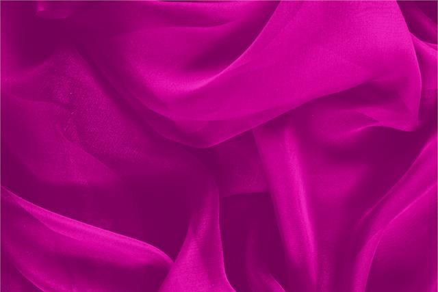 Buy online our clothing and fashion fabric 'Ciclamino' Fuxia Silk Chiffon, Made in Italy. - new tess