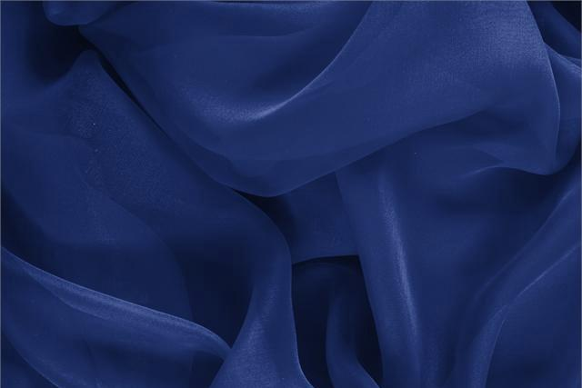 Buy online our clothing and fashion fabric 'Zaffiro' Blue Silk Chiffon, Made in Italy. - new tess