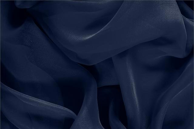 Buy online our clothing and fashion fabric 'Navy' Blue Silk Chiffon, Made in Italy. - new tess