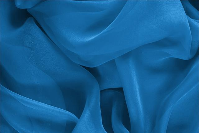 Buy online our clothing and fashion fabric 'Portofino' Blue Silk Chiffon, Made in Italy. - new tess