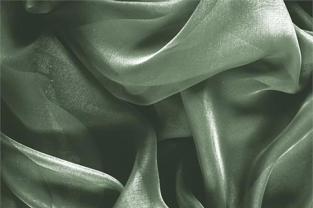 Buy online our clothing and fashion fabric 'Army' Green Silk Chiffon, Made in Italy. - new tess