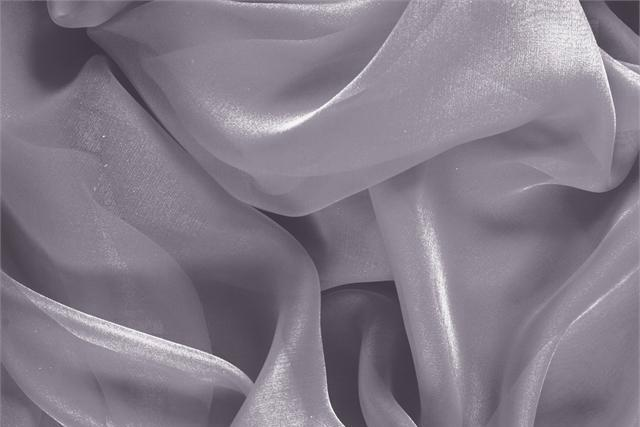 Buy online our clothing and fashion fabric Silver Silk Chiffon, Made in Italy. - new tess