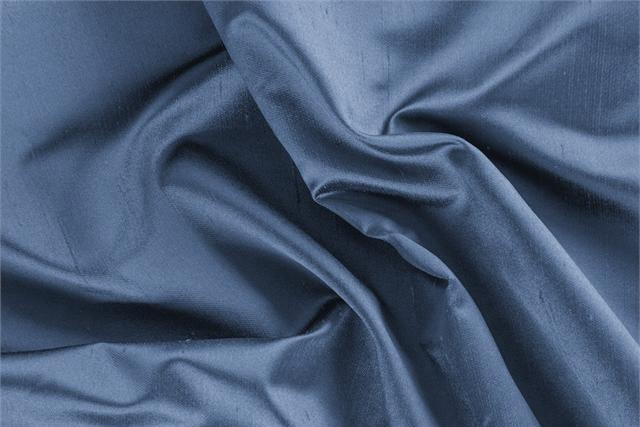 Buy online our clothing and fashion fabric 'Calabrone' Blue Silk Shantung Satin, Made in Italy. - new tess