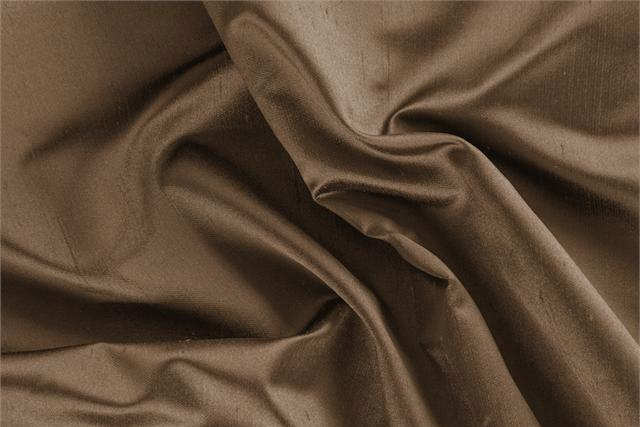 Buy online our clothing and fashion fabric 'Bronzo' Brown Silk Shantung Satin, Made in Italy. - new tess