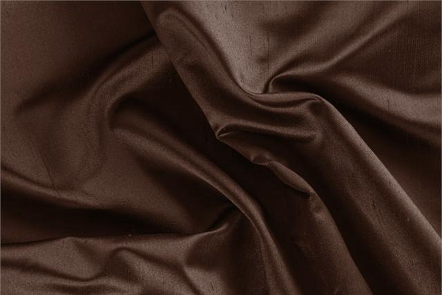 Buy online our clothing and fashion fabric 'Cioccolato' Brown Silk Shantung Satin, Made in Italy. - new tess