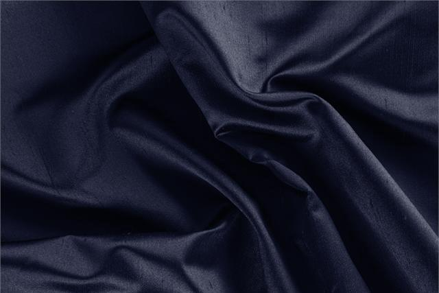 Buy online our clothing and fashion fabric 'Inchiostro' Blue Silk Shantung Satin, Made in Italy. - new tess