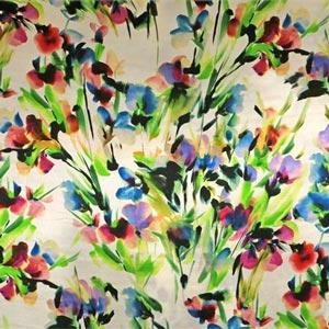 Blue, Fuxia, Green, Multicolor Silk Satin Floral Fabric