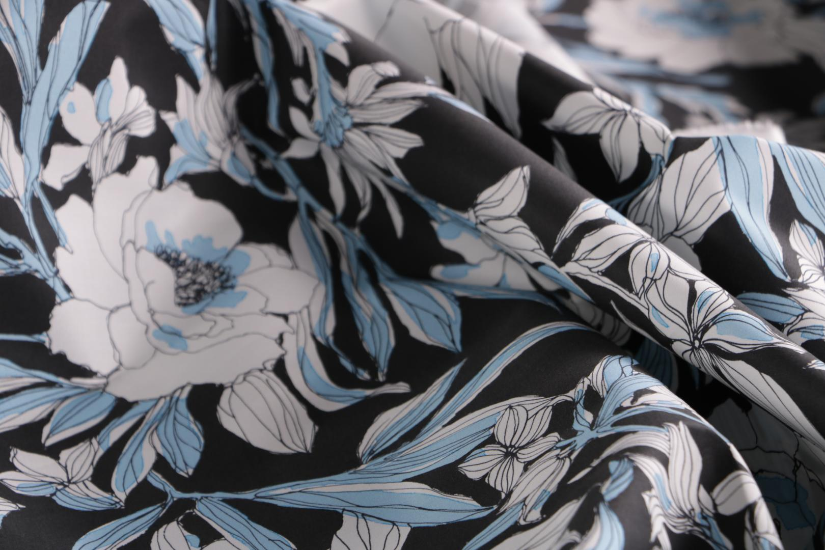 Floral cotton canvas fabric printed on black background | new tess