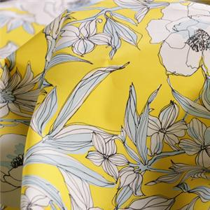Multicolor, Yellow Cotton Cotton canvas Flowers Print fabric for Dress, Pants, Shirt, Skirt.